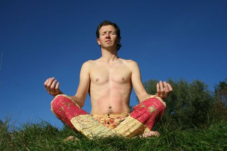 man meditating in park Stock Photo - 3936991