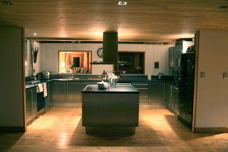 modern kitchen at night photo
