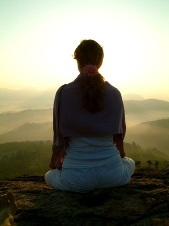 subcontinent: lady meditate silhouette