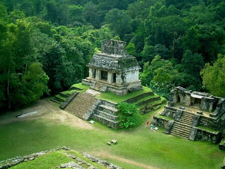 a temple in palenque, mexico