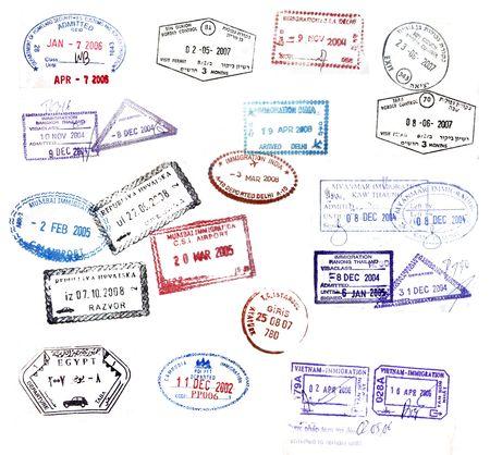 Myanmar: Plusieurs timbres de visa de passeports de voyage dans le monde entier
