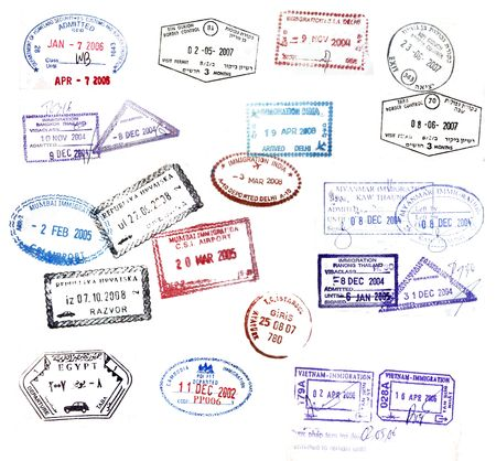 myanmar: Various visa stamps from passports from worldwide travelling