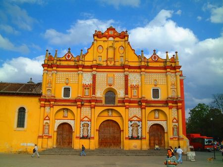 church bell: Yellow church in Mexico Stock Photo
