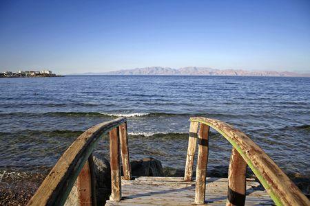 dahab: bridge in dahab, red sea, sinai, egypt Stock Photo