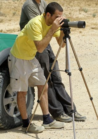 bird watcher: bird watcher sede boker desert, israel Stock Photo