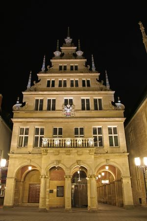 munster: illuminated building, munster, germany Stock Photo