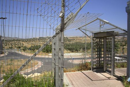 bank western: fence separating israel with the west bank, palestine, israel Stock Photo
