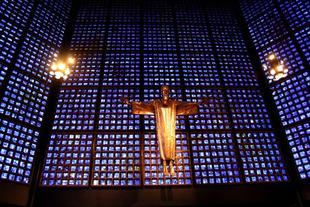 crucifiction: jesus in the gedaechtnis kirche, berlin, germany