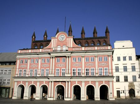 rostock: pink townhall in rostock, germany Stock Photo