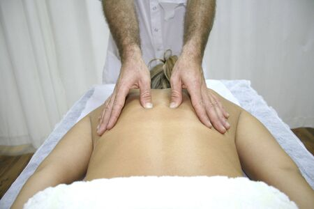 young woman getting chinese medicine treatment photo