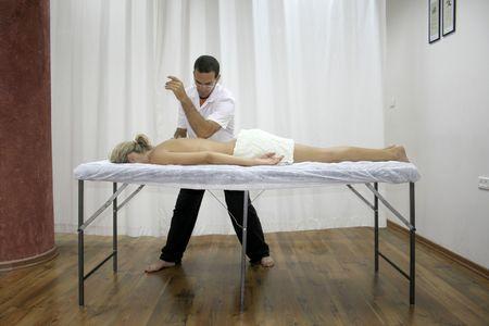 beauty therapist: chinese medicine treatment Stock Photo