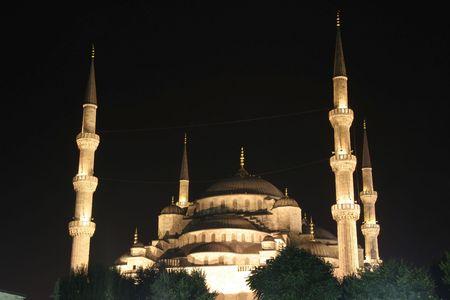coran: blue mosque minarets at night, sultanhamet, istanbul, turkey Stock Photo