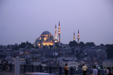 coran: evening view of mosque, istanbul, turkey