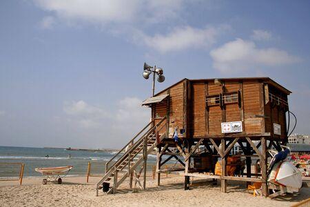 lifeguard watch hut coast tel aviv israel Stock Photo - 3930509