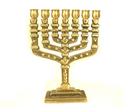 hasidic: golden colour jewish chandelier menorah Stock Photo
