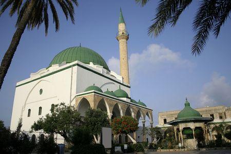 coran: green roof mosque in akko israel Stock Photo