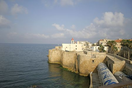 fortified: church on fortified wall in akko old town israel Stock Photo