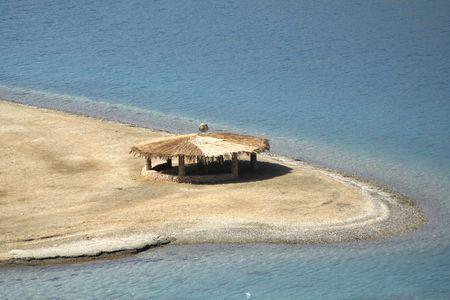 reed hut on beach, red sea, sinai, egypt photo
