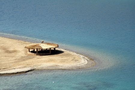 reed hut on beach, red sea, sinai, egypt Stock Photo - 3930789