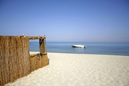 reed hut on beach, red sea, sinai, egypt Stock Photo - 3930446