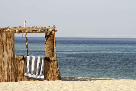 reed hut on beach, red sea, sinai, egypt Stock Photo - 3930382