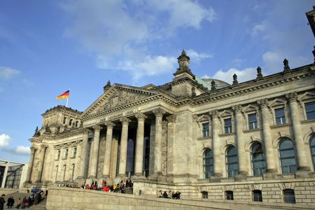 fascism: front view of the reichstag building, berlin, germany Stock Photo