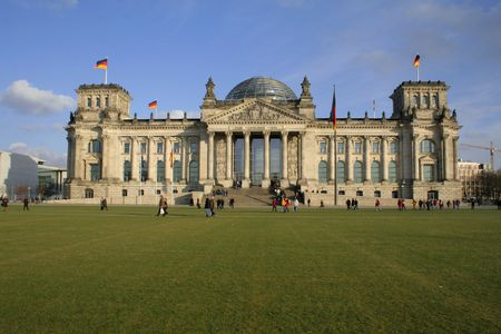 copula: wide view angle of the reichstag building, berlin, germany