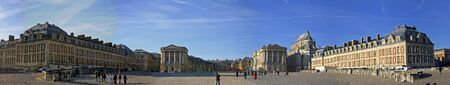 versailles: wide panoramic view of the castle of Versailles in Paris, France