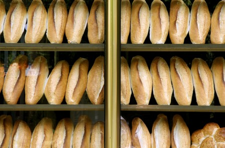 loafs of bread on display in bakery in Istanbul Stock Photo - 4182934