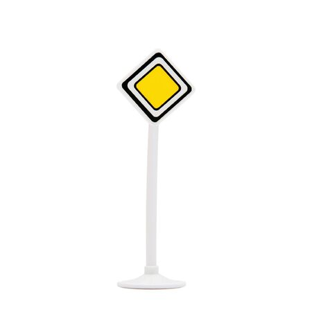 Priority sign post on isolated white background photo