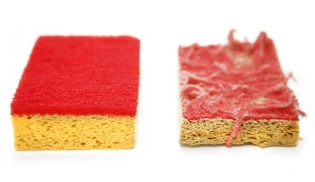 Clean and dirty, before and after sponge photo