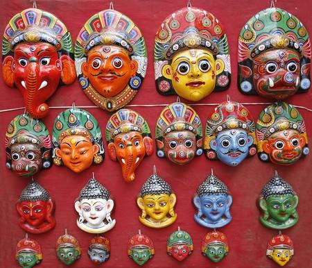 nepali: Nepali masks on display in the markets of Bhaktapur, Nepal