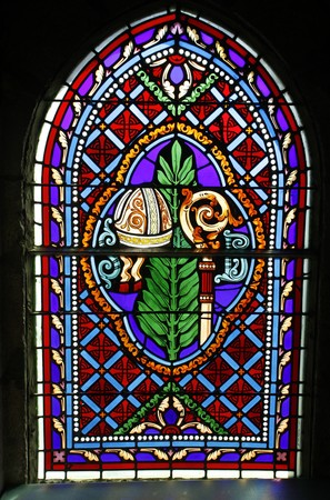 tinted glasses: Stained glass window in church in Rocamadour in France