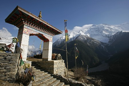 Entrance gate to monastery in Upper Pisang, Annapurna, Nepal photo