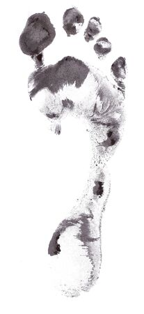 male feet: Foot print created with paint and foot