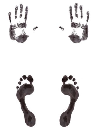 barefoot walking: Foot and hand print created with paint Stock Photo