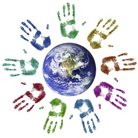 joined hands: Multi-coloured hands joined around the world