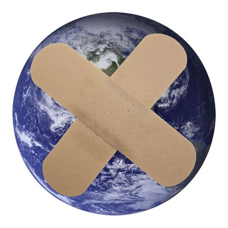 Onze wereld is gepleisterd! Genees de wereld - pleister op planeet aarde