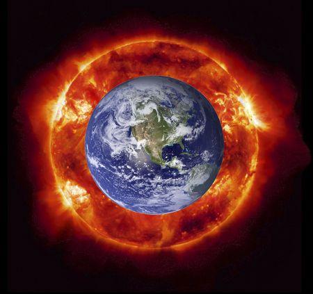 Concepto del ardiente sol del planeta Tierra (im�genes de la NASA). Foto de archivo - 4656704