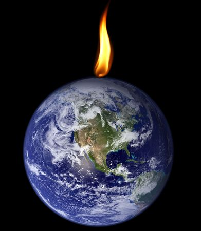 Planet Earth being consumed by a flame photo