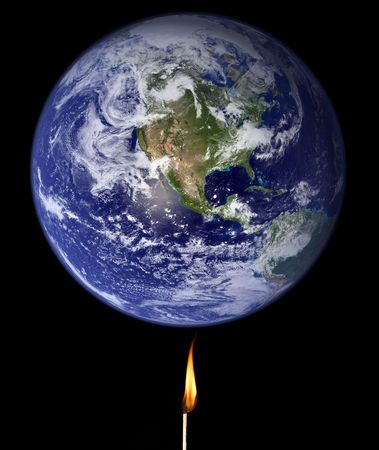 greenhouse gas: Global warming concept: match stick burning the Earth (Nasa imagery).