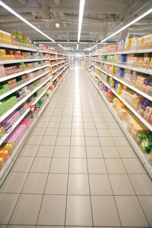 supermarket cash: Wide perspective of empty supermarket aisle Stock Photo