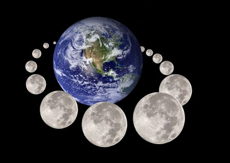 gravitational: Moon travelling and circumnavigating the planet earth