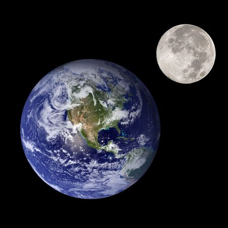 gravitational: Earth and moon like mother and daughter in outer space Stock Photo