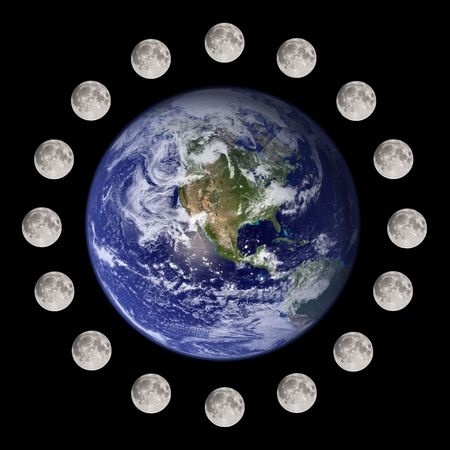 Moon travelling and circumnavigating the planet earth photo