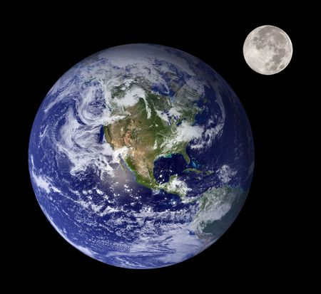 mother earth: Earth and moon like mother and daughter in outer space Stock Photo