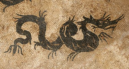 ���archeological site���: Antique dragon mosaic in archeological site in Krk, Croatia