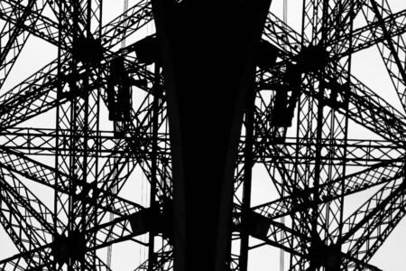 archway: Details of the structure of the eiffel tower in paris, france