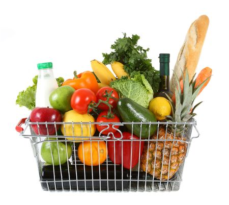 grocer: Shopping basket filled with fresh fruit and vegetables