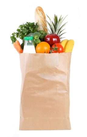Brown paper shopping bag filled with fresh fruit and vegetables Stock Photo - 5943967
